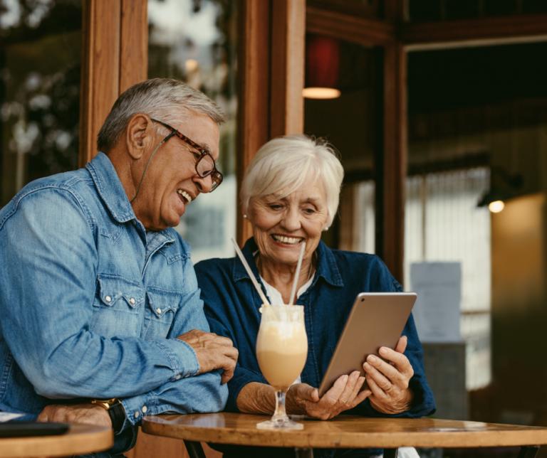 Older couple online looking at digital assets