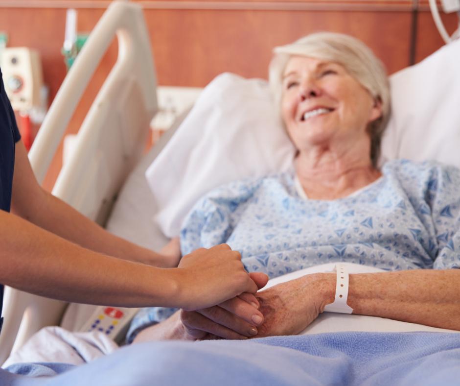 Senior woman receiving medical care in hospital